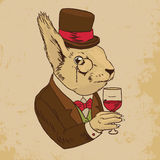 Dressed Squirrel With Glass of Wine And Top Hat. Colored Portrait of Dandy Squirrel with Glass of Wine and Silk Hat. Sophisticated animal. Intelligent Squirrel Stock Photography