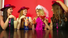 Dressed up friends having hen party Stock Photos