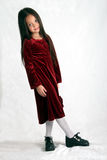 Dressed up II. Young girl in burgundy dress Royalty Free Stock Photo