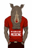 Dressed up rhino. In red t-shirt stock illustration