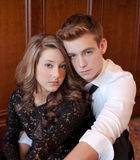 Dressed Up Teen Couple. An image of a cute teenage couple dressed in black and white Stock Images