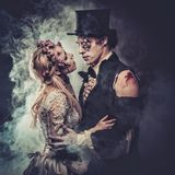 Dressed in wedding clothes romantic zombie. Royalty Free Stock Photography