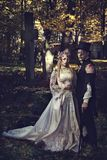 Dressed in wedding clothes romantic zombie couple. Stock Photography