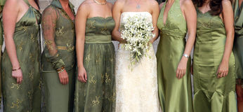 Dressed for wedding - Mexico. Detail of several women bridesmaids and bride Stock Photography