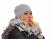 Dressed for winter. Attractive woman is dressed for winter looking away from the camera stock images