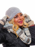 Dressed for winter. Image of a happy smiling woman dressed for winter looking away from the camera royalty free stock photo