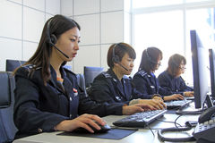 Dressed in women's uniforms administrators Royalty Free Stock Photo