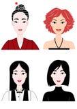 Dressed women,upper body,set. White background stock illustration