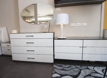 Dresser unit in bedroom of show home Stock Image