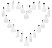 Dresses. Wedding dresses isolated on white royalty free stock images