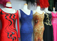 Dresses. Glamorous dresses on display stock photo