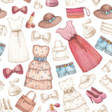 Dresses and accessories pencil drawings. Seamless pattern royalty free illustration