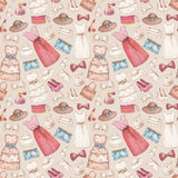 Dresses and accessories pencil drawings. Seamless pattern stock illustration