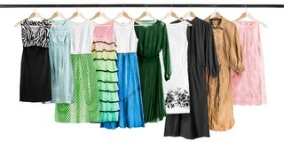 Dresses on clothes racks Stock Photo