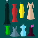 Dresses of different colors - eight styles. Stock Photo