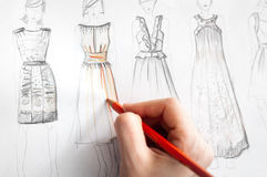 Dresses drawing Stock Image