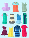 Dresses in flat design Royalty Free Stock Photo