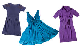 Dresses for girls. Colorful dresses for women isolated on white background royalty free stock photography