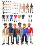 Dresses and hairstyles game with male avatar vector illustration
