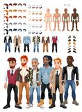 Dresses and hairstyles game with male avatars Stock Photos