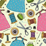 Dresses for little girls. Tools for sewing. Hand drawing Stock Images