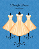 Dresses on the Mannequins Background Royalty Free Stock Photo