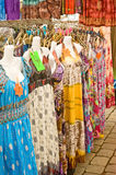 Dresses on market stall. An image of colorful dresses for sale on a market stall in the north of England Royalty Free Stock Images