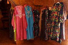 Dresses and other fabrics. For sale  in a beehive tea house in Harran,  Turkey Stock Photography