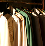 Dresses for priests in the sacristy of an ancient Christian chur Stock Images