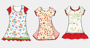 Dresses and t-shirt design for girl Stock Image