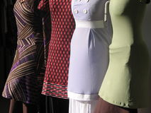 Dresses / tunics. Tunic-like dresses in a store window Royalty Free Stock Photos