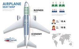 Dressez une carte le siège d'avion, plan, de passager d'avions L'avion pose la vue supérieure de plan Affaires et avion de classe Illustration de Vecteur