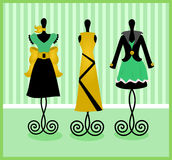 Mannequins dress forms. Illustration of dress forms displaying dresses Royalty Free Stock Photo