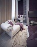 Dressing area in elegant bedroom stock images