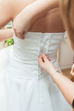 Dressing the bride dresses Stock Image
