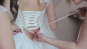 Dressing the Bride stock video footage
