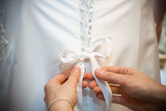 Dressing the bride's wedding dress Stock Image