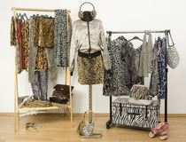 Dressing closet with animal print clothes arranged on hangers. Stock Photography