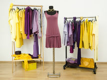 Dressing closet with complementary colors violet and yellow clothes. Royalty Free Stock Image