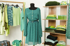 Dressing closet with green clothes arranged on hangers and shelf, dress on a mannequin. Stock Photos