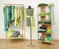Dressing closet with green clothes arranged on hangers and shelf, dress on a mannequin. Stock Images