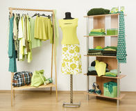 Dressing closet with green clothes arranged on hangers and shelf, neon green outfit on a mannequin. Stock Photography
