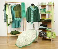 Dressing closet with green clothes arranged on hangers and shelf. Royalty Free Stock Images