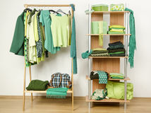 Dressing closet with green clothes arranged on hangers and shelf. Stock Images
