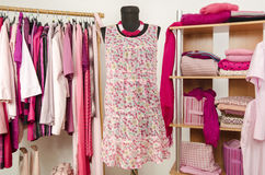 Dressing closet with pink clothes arranged on hangers and shelf. Royalty Free Stock Photography
