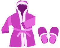 Dressing gown. And slippers on a white background stock illustration