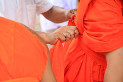 Dressing robe for Newly ordained Buddhist monk Royalty Free Stock Photos