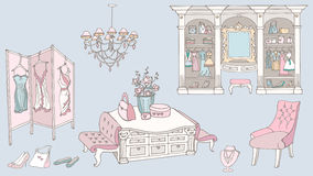 Dressing room, fashion, blue pink. Outline a set of furniture for a chic, glamor, elegant  dressing room for storage of female fashion and fitting,  colored blue Stock Photography