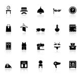 Dressing room icons with reflect on white backgrou Royalty Free Stock Images