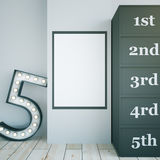 Dressing room number 5. Star dressing room interior with blank picture frame and marquee light number 5. Concrete wall and light wooden floor. Mock up, 3D Stock Photo